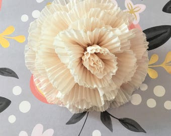 Medium Ivory Pleated Flower Brooch