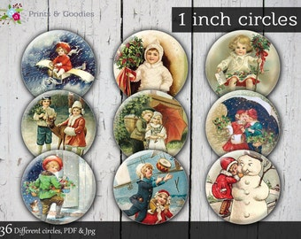 "Sale Retro Christmas digital collage 1"" vintage bottle cap images printable circle 1 inch round download cabochon 25mm pendant digital cameo"