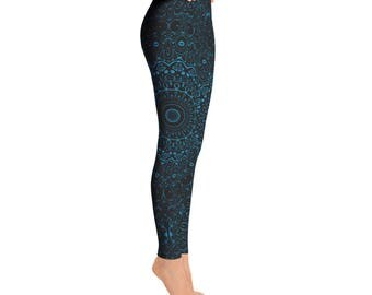 Cerulean Blue Yoga Pants - Black Leggings with Blue Mandala Designs for Women, Printed Leggings, Pattern Yoga Tights