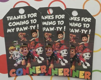 Paw Patrol Thank You Tags, Paw Patrol Birthday, Paw Patrol Party, Paw Printables, Paw Favor Tags, Printable Gift Label, Paw Chalkboard