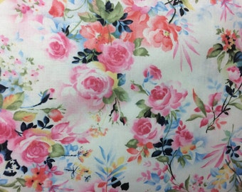 White pink Shabby Chic style floral fabric, flower fabric, shabby fabric, cottage style, English style fabric, blue fabric