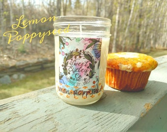 8 oz Lemon Poppyseed  Soy Candle
