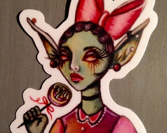 Glinda the Goblin weatherproof, vinyl sticker