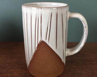 Handmade White Mug with Hand Carved Design