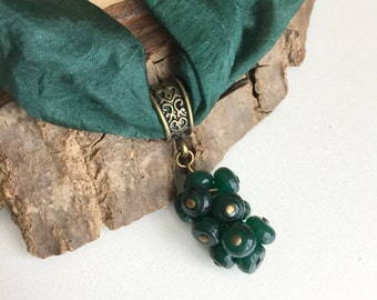 Green Jade Necklace,Antiqued Brass Necklace,Jade Pendant Necklace,Boho Necklace,Green Silk Necklace,Jade Necklace,Healing Necklace