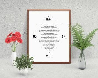 My Heart Will Go On, Celine Dion, Titanic, Leonardo DiCaprio, Kate Winslet, Song Lyric Print, Minimalist Poster, Song Lyric Art, Her Gift