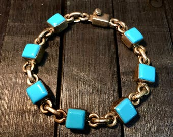 Vintage Taxco TS-122 Sterling Silver/ Turquoise Bracelet   #253