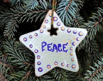 Ceramic Peace Ornament