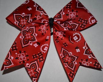 Red Bandanna style Cheer Bow
