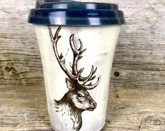 Rustic elk pottery travel mug with lid