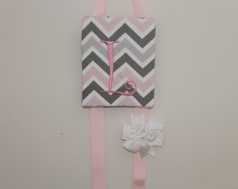 Monogram Hair Bow Holder Pink Grey Chevron Embroidered Personalized Hair Bow Holder Hair Clip Holder Hairbow Holder Hair Bow Organizer