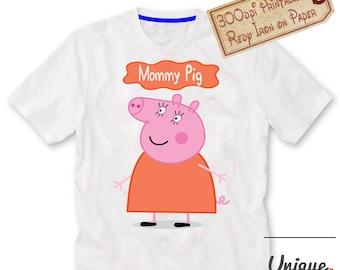 Mommy Pig ,Peppa pig tshirt iron on transfer, Birthday party shirt iron on transfer,Printed AND printable Digital File