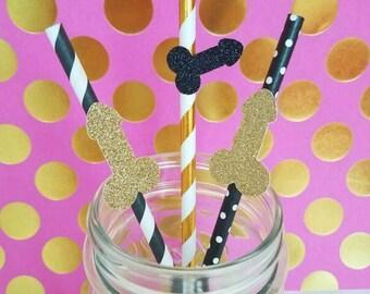 Bachelorette Party Penis Straws, set of 10- Glitter, Gold Foil, Hot Pink, Custom Options Available- Bachelorette Party, Hen Party Decor