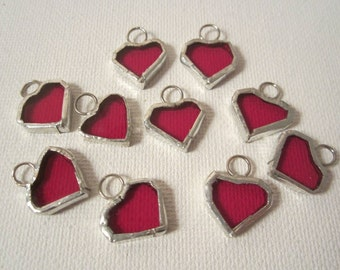 Red Stained Glass Heart Charms