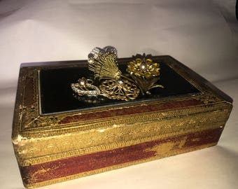 Vintage Gold and Red Jewelry Box
