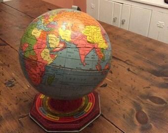 "Vintage Globe, 24"" Circumference, Tin Lithograph, 1960s, J Chein, Perpetual Calendar, Zodiac (B235)"