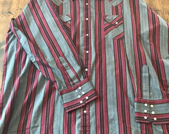 80s Western Shirt, Cowboy, Snap Button Down by Ely Cattleman (B440)