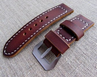 Brown leather Panerai watch strap