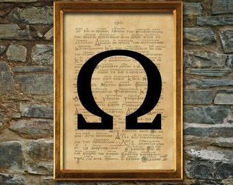 Sorority symbol print, Omega aged poster, Aged wall decor, Occult print, dormitory print, man poster, Omega print