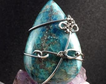 Azurite Sterling Silver ring / wire wrapped / jewellery for women