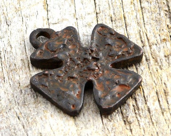 Rustic Cross Pendant, Antiqued Cross, Artisan Cross, Religious Cross, Cross Charm, Maltese Cross, Brown Patina Cross