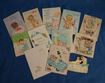 Lot of Seventeen Vintage  Welcome Baby Cards