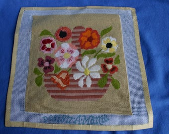 Mid Century Needlepoint Pillow Front