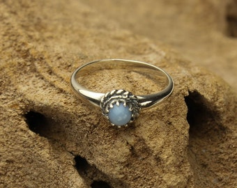 Blue Opal Ring, Owyhee Blue Opal Ring Bezel Set in Sterling Silver, Stacking Ring