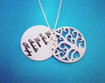 Tree of Life Necklace Personalized Message Necklace Family Tree Custom made Necklace Silver Name Necklace Mother Day Gift SALE!