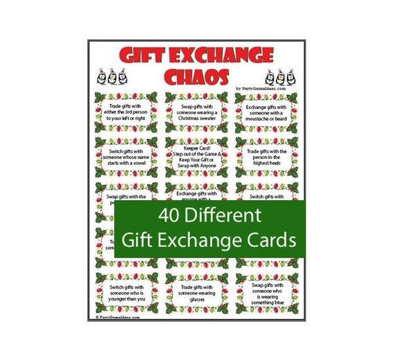 Gift exchange chaos 40 printable gift exchange cards for Good gifts for gift exchange