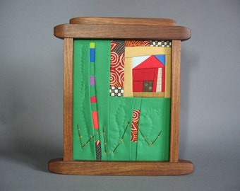 Small Art Quilt in Walnut Frame by pam beal and wayne walma