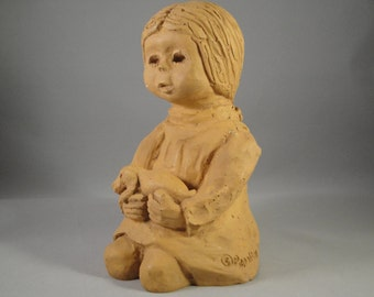 Girl with Dog Clay Art Figurine Signed Pepollen 1973 Children Classroom Nursery School Decor Teacher 7 by 4 by 4 Inches