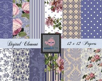ON SALE Digital Scrapbook Blue Paper, Digital Denium Paper, Paper, Wedding Paper, Pink Shabby Rose Paper, Blue Textures and Overlays. No. V
