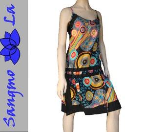 tunic S/M + L/XL summer cotton psy goa party multicoloured festival minidress beach holiday