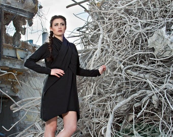 Dress Jersey Black Scarf Drapery Kleid Cotton Size M