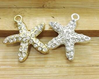10 pcs  Rhinestone Starfish Charms , StarFish Pendants , Starfish Jewelry , Nautical Charms , Ocean Charms , Beach Charms , Sea Life Charms