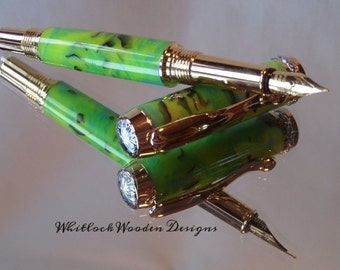 Gold Aphrodite Green Day Handmade Fountain Pen