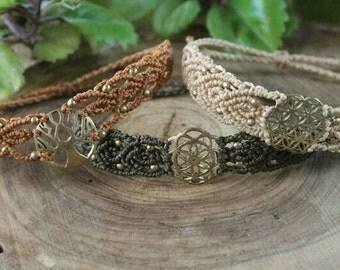 Macrame bracelets with bronze trinket