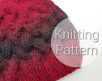 Adult Loose Braid Cable Pattern - Chunky Hat Knitted Cable Beanie - Knit Cable Hat Pattern - Knit Hat Pattern - PATTERN