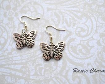 Antiqued Silver Butterfly Hook Earrings