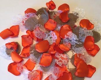 Orange Country Rose Petals/Orange Satin Rose Petals/Burlap Rose Petals/Rustic Orange Wedding Petals/Flower Girl Petals/Orange Petals