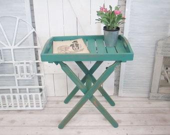 Shabby Tabletttisch  petrol  tray table Unikat Klapptisch Industrie Loft