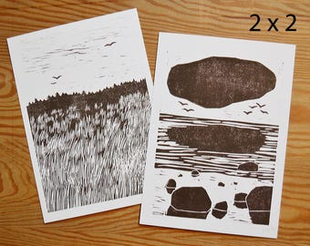 "Postcard set of 4 ""land and sea"""
