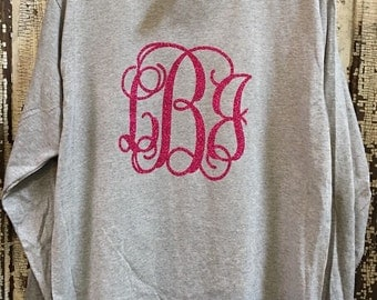 Long Sleeve Glitter Monogram Shirt
