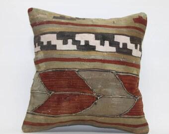 "Antique Kilim Rug  Super Quality Handmade Kilim Pillow 16"" x 16"" Wool Kilim Rug Pillow Cases Home Decor Pillow Cushion Covers   2424"