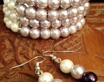 Pearl trio bracelet set
