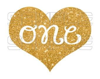 Gold Glitter One Iron On Transfer, Gold Glitter 1 iron on transfer, Gold heart iron on