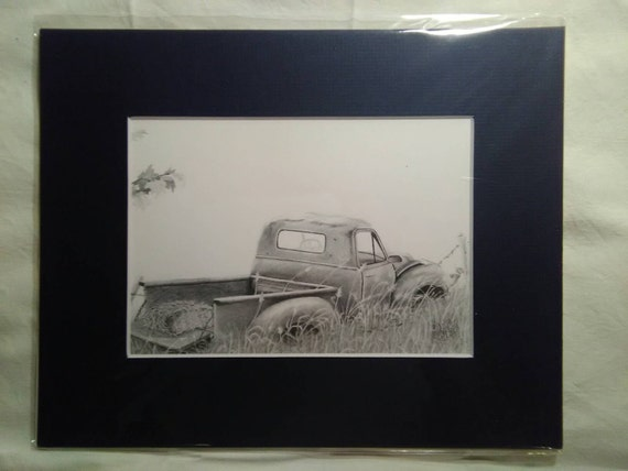 Old Chevy pickup truck, rustic, vintage, graphite pencil drawing print