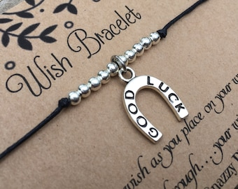 Good Luck Wish Bracelet, Make a wish Bracelet, Good Luck Bracelet, Wish Bracelet, Friendship Bracelet, Gift for Her, Horseshoe Bracelet