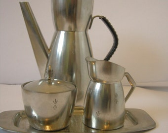 Norwegian Pewter Coffee Pot, Sugar Bowl, Milk/Cream Jug and Tray made by Brødrene Mylius of Kragerø